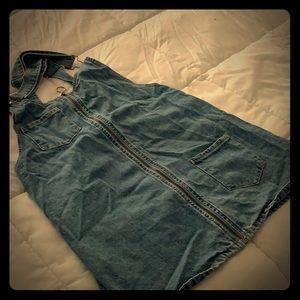 Blue Denim Suspender, Zip Up, Dress Overall